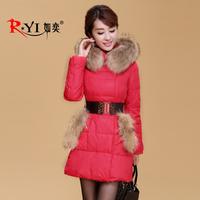 2013 female down coat fur collar women luxury slim down coat