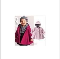 Retail Freeshipping pink overcoat baby wear fashon girls thick warm woolen coat clothese  girls coat 80-100cm 1pcs