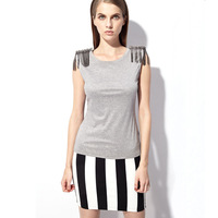 Only 10pcs left!Fashion handmade diamond chain 2013 epaulette tassel female sleeveless cotton t-shirt top