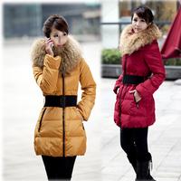 Luxury large fur collar slim medium-long down coat Women