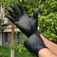 Autumn and winter male leather gloves men's genuine leather sheepskin gloves plus velvet thermal outdoor ride elastic