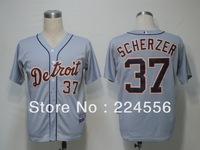 Free ship via EMS/DHL/FEDEX Detroit Tigers #37 Scherzer grey white cool baseball Jerseys wholesale size48-56 Mix order