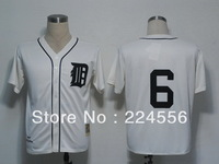 Mix Order Detroit Tigers 6# Al Kaline White Baseball Jerseys Embroidery logos 1968 throwback Free Shipping Size 48-56