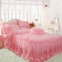 Pink satin jacquard princess bedding dream lace piece bedding set wedding bedding ruffle princess sweety bedding set