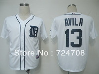 Free shipping,wholesale baseball jersey Detroit Tigers #13 Alex Avila white/grey cool base jerseys,size48-56