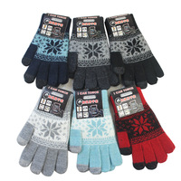 free shipping winter thickness  jacquard touch screen gloves,21-22cm,12pair/lot,mixed color