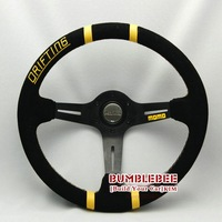SALE!Wholesale!! !14 inches MOMO Suede Steering Wheel, racing car steering wheel Aluminum alloy, ACC1622