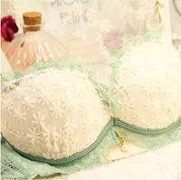 Hot-selling fresh embroidery lace 3 breasted push up young girl underwear bra set