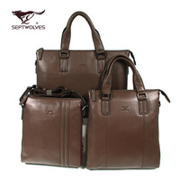 Septwolves shoulder bag handbag full genuine leather male genuine leather messenger bag Men vertical