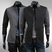 2013 autumn men's slim fit color block decoration suit stand collar suits blazer jacket Asian M-XXL freeshipping