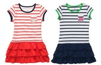 2013 Summer Carter's Child Girl Navy Stripes One-piece Dress Kids Cotton Layered Princess Dress