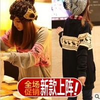 2013 autumn winter plus size casual loose women's pullover onta pattern sweatshirt outerwear