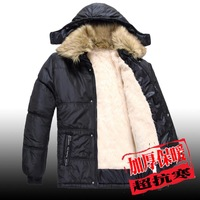 Winter thickening plus size male wadded jacket liner plush thermal warm fur collar jacket wholesale and free shipping