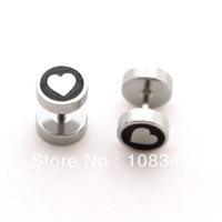 1 pair of  heart logo engraved  stainless steel  fake Ear Plug ear earrings studs