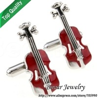 Music Heaven Red Violin fun style enamel Cufflinks QT6912 - Free shipping
