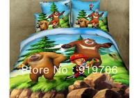 Hot New Beautiful 100% Cotton 4pc Doona Duvet QUILT Cover Set bedding sets Full Queen King size 4pcs cartoon colorful bear