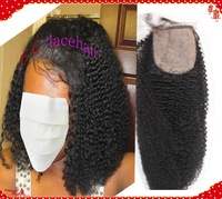 Stock Virgin Brazilian Afro Curl Silk Base Top Closures,Size 4x4