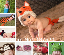 NEWEST! Toddler Boy Girl Baby Beanie Costume Animal Hats Caps Sets Taking Photo Photography Props Knit Crochet XDT Free Shipping(China (Mainland))