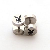 1 pair of bunny logo engraved Fake cheat stainless steel  Ear Plug ear studs