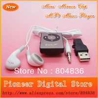 Hot Sell 100pcs/lot Fashion Christmas Gift Mini Mirror Clip Sport MP3 Music Player With Earphone&Mini USB Free DHL OR EMS