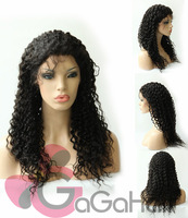 Lady Gaga Hair! Free Shipping Peruvian Lace Front Wigs Human Hair Water Wave 20'' Baby Hair 1b# Wigs for African Americans