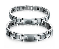 Fashion health Jewelry Bangle  Healing Indian titanium Magnetic 316L Stainless Steel Bracelet For couple With FIR europe style