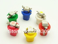 50pcs/lot T5 B8.5D  5050 1 SMD 2721 286 instrument light  INTERIOR DOME 12V  BULB LAMP Twist Lock white red blue yellow green