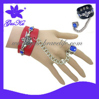 2014 Gus-LB-067 Trendy and Fashion Genuine Leather bracelet with ring for ladies in party or other entertainment as star style