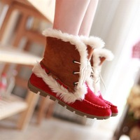 2013 new autumn winter women boots flat heel snow boots faux fox fur thermal cotton-padded shoes nubuck