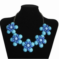 New Women Jewelry Bib Chunky choker necklace Lady Flower Statement Bubble Necklaces Fashion Necklace For Women Free Shipping