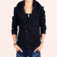 Sweatshirt cardigan male pure male slim cotton-padded coat with a hood sweatshirt black spring and autumn