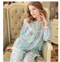 Women's Sleepwear plus size sweet women's 100% woven cotton long-sleeve  lounge set  Free SHIPPING