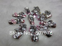 Salesl !!   24pcs/set   Full Cover  Gradient  Metal  Pink  Color   Nails Tips  With  Ornament  Free shipping
