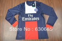 New arrival 13/14 PLAYER version PSG home blue long sleeve best quality soccer jersey, Paris Saint-Germain soccer jerseys