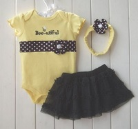 Baby girls flower romper,infant bodysuits&headress&tutu skirt sets