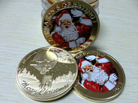 Bells Bring Wishes 24K Gold Clad Lucky Gift X'mas Christmas Decoration Coins 100pcs/lot free shipping Santa Claus Gold Coins