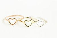 $10 free shipping Gold Plated Love Heart Deisgner Finger wedding rings for women small