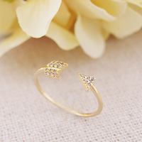 wholesale 10pce/lot mix color K-pop Jewelry Fashion Crystal Arrow Ring for women  Promotion free shipping