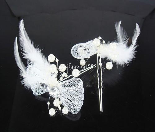 12Pcs Wedding Bridal Bowknot Pearl Feather Hair Pin Hair Accessory SP-809(China (Mainland))