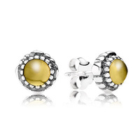 New Arrivals Brand Hot European Silver Jewelry for Earrings Birthstone-November, Citrine Stud Earring 5pairs/lot