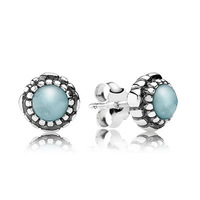 New Arrivals Brand Hot European Silver Jewelry for Earrings Birthstone-March, Aquamarine Stud Earring 20pairs/lot