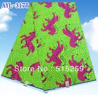 Green background fuschia horse super wax prints hollandais african fabric 6yards