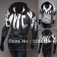 Free shipping new arrival 2013 autumn male fashion letter print slim hoodies outerwear 3 colors M-2XL size fleece sweatshirt