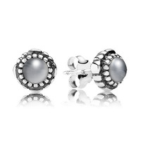 New Arrivals Brand Hot European Silver Jewelry for Earrings Birthstone-June, Grey Moonstone Stud Earring 20pairs/lot
