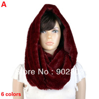 Free Shipping ,Hot Selling New Arrivals Faux Rabbit Fur Loop Neck Hood Warm Winter Thick Chunky Infinity Scarf For women,NL2132