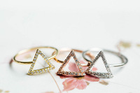 wholesale 10pce/lot mix color Crystal Jewelry Triangle Rings For Women With High Quality Free Shipping
