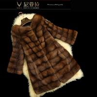 2013 mink marten fur overcoat fur coat female s124