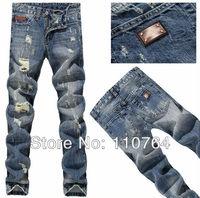 2014 New Hot DSQ Jeans Men's Brand Ripped Design Metal Logo Hole Denim Pants Washed Classic Men Light Blue Jeans 28~38