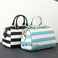 Women Handbag Genuine leather female bags color block stripe fresh candy color handbag shoulder bag messenger bag  Totes