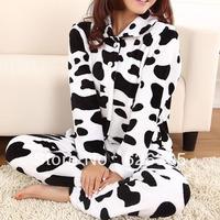 Free Shipping!!!Hotsale 2013 Spring Autumn Cute Pyjamas Set Household Sleepwear Coral Fleece Nightgown Women Homewear